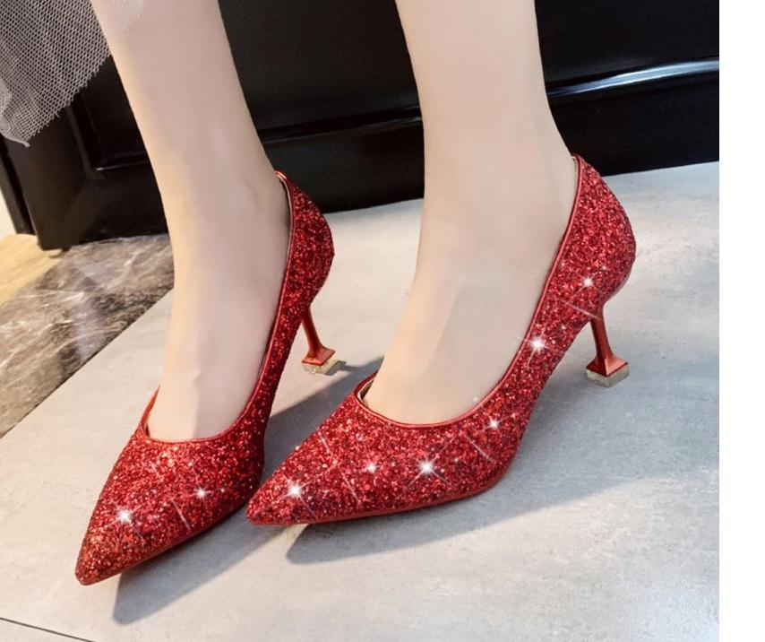 2020 Женская обувь весной и осенью с новым стилем моды средний каблук заостренный конец обувь каблук 3 см, 6 см @MQWBH719