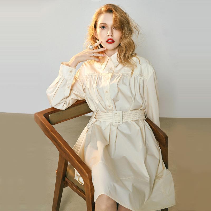 Spring wear 2019 fairy French mini-dress tied with slim waist French retro trench dress