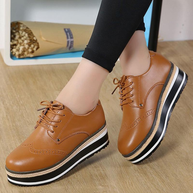 Womens Casual Sneakers Lace Up Platform Flat Shoes Comfortable Walking PU Shoes