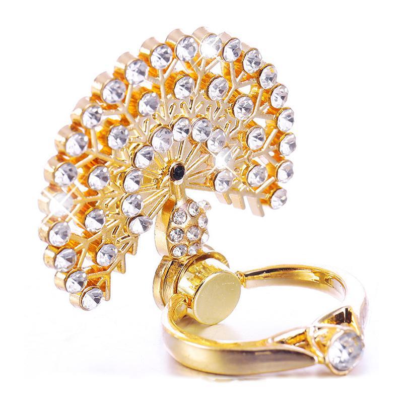 Vente chaude en cristal de diamant en métal paon anneau Stend Support de portable multifonction universel pour téléphone cellulaire Accessoires doigt Holder Anneau