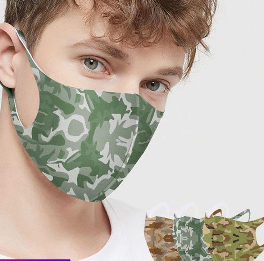 Camuflaje de la boca de la mascarilla del algodón lavable reutilizable partido unisex adulta mascarillas Máscara facial 4 colores LJJK2231
