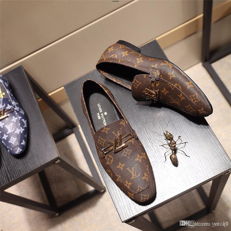 19SS Italie Oxford Chaussures Hommes Marques de Luxe Hommes en cuir verni Chaussures noir Hommes Robe bout pointu Chaussures classique YECQ1 hjm8 Derbies
