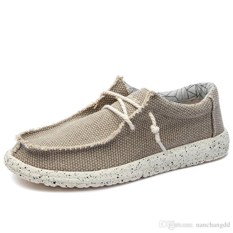 2019 été hommes toile chaussures homme d'affaires décontractée chaussures confortable lacets mocassins chaussures hommes conduite automobile