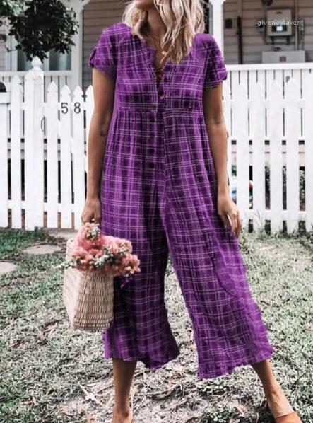 For Women Summer Loose Casual Wearing Fashion Female Rompers Button Full Length Apparel Plaid Printed Jumpsuits