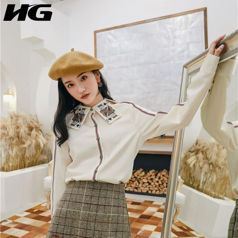 [hg] French Fashion 2019 Spring New Women Turn-down Collar Full Sleeve Loose Shirt Female Patchwork Button Casual Blouse Wbb2516 J190614