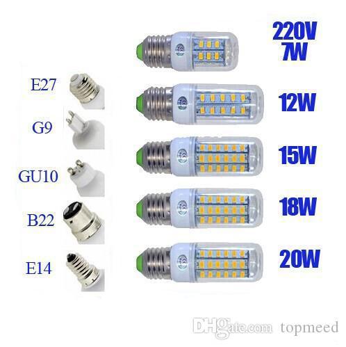 SMD5730 E27 E12 E14 GU10 B22 ampoules LED G9 7W 9W 12W 15W 18W 110V 220V angle 360 de l'ampoule LED lumière de maïs