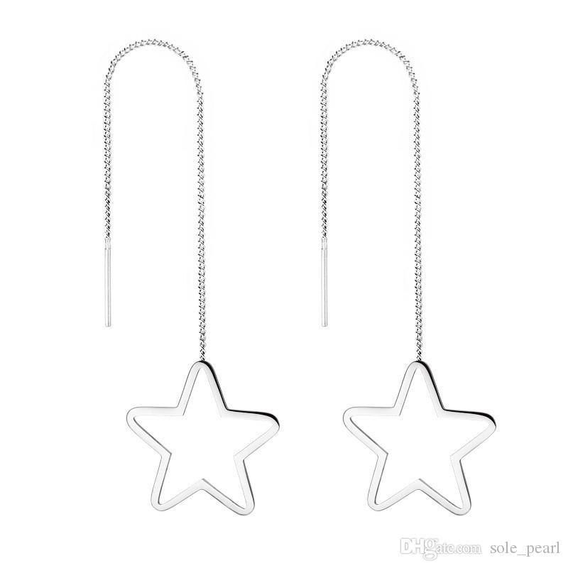 Pendientes de gota para las mujeres de acero inoxidable personalidad cuelga los pendientes de la borla simple Pentagrama moda geométrica joyería de las mujeres al por mayor