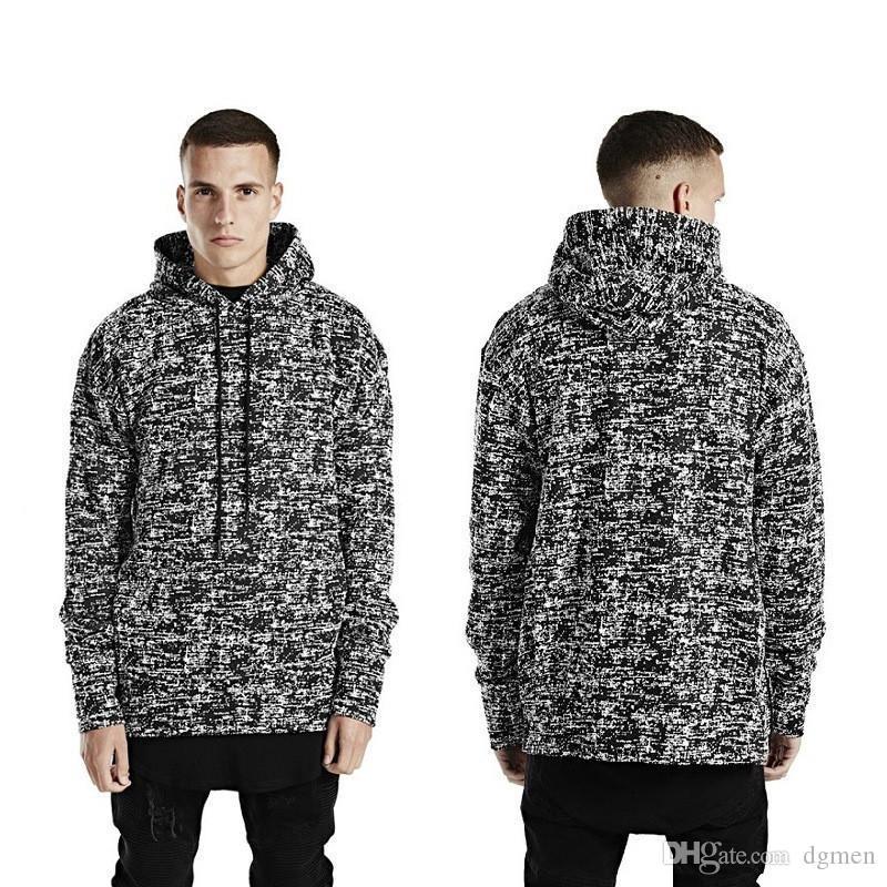 Pannelli Designer Mens cappuccio Moda a lungo della neve Stampa Side Zipper Panelled Mens Hoodies casuali Maschi Abbigliamento