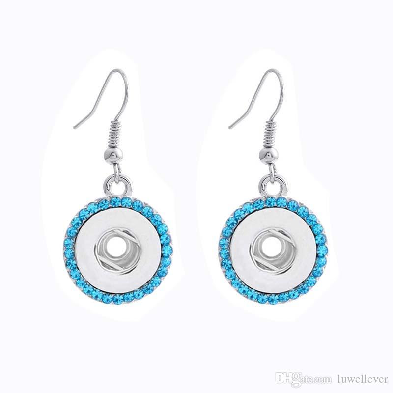 Luwellever 001 intercambiáveis Crystal Fashion Pedrinhas 12 milímetros botão snap Brinco Para Mulheres gengibre encantos de presente