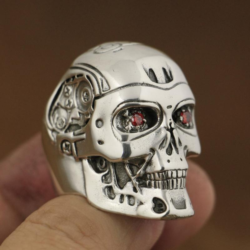 Kırmızı CZ Gözler Terminatör El yapımı 925 Gümüş Erkek Biker Robot Halka TA80