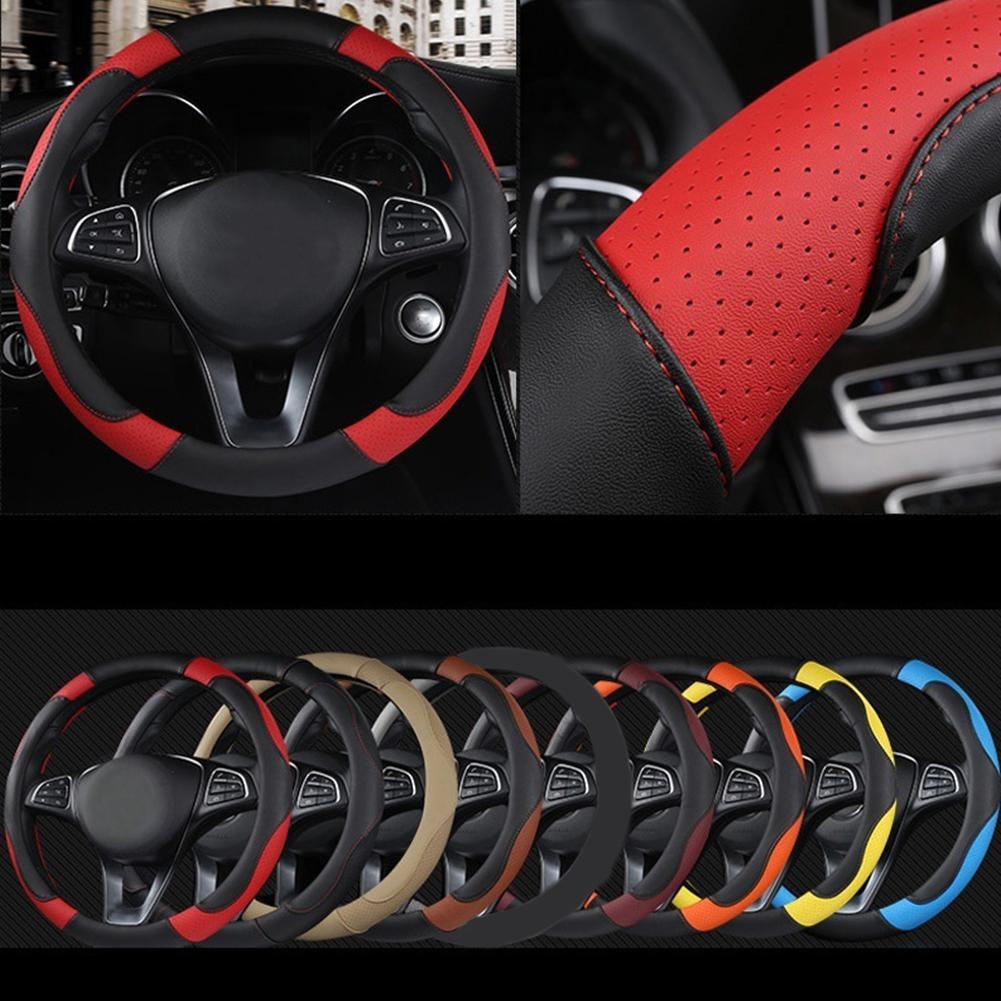 Рулевое управление Универсальный колеса автомобиля Крышка 37см-38см Диаметр Leather Sport Auto Руль Обложки противоскользящим Аксессуары для интерьера