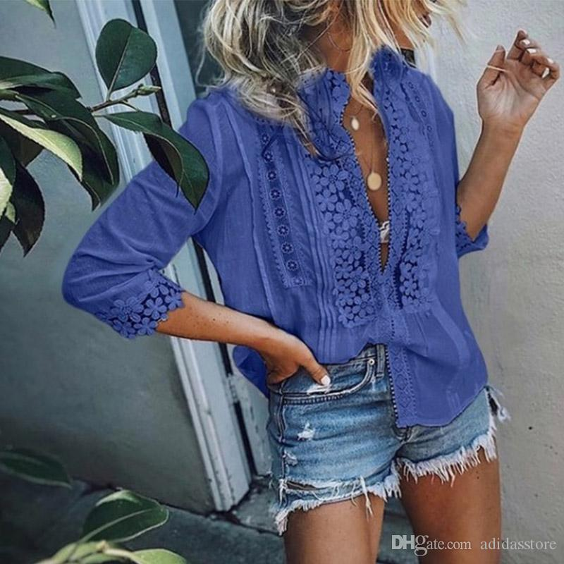 Office Lady Lace Floral Patchwork Womens Blouse Pink Boho Casual Sweet Girl Female Shirt 2019 Spring Summer Women Top
