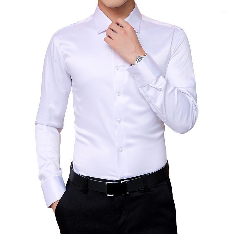 Men's Dress Shirts 2021 Autumn Men's Korean Wedding Party Long Sleeve Shirt Silk White Tuxedo Men 5XL1
