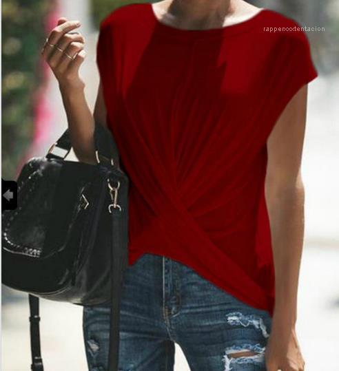 Kadınlar için tişörtleri Giyim Kadın Çapraz Draped Tasarımcı Tees Yaz Katı Casual