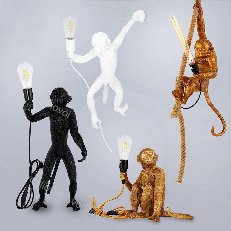 Sarkıt Beyaz / Siyah / Glod Maymun Kenevir Halat Işık Moda Basit Sanat Nordic Reçine Seletti Asılı Duvar Masası Zemin Lambası DHL