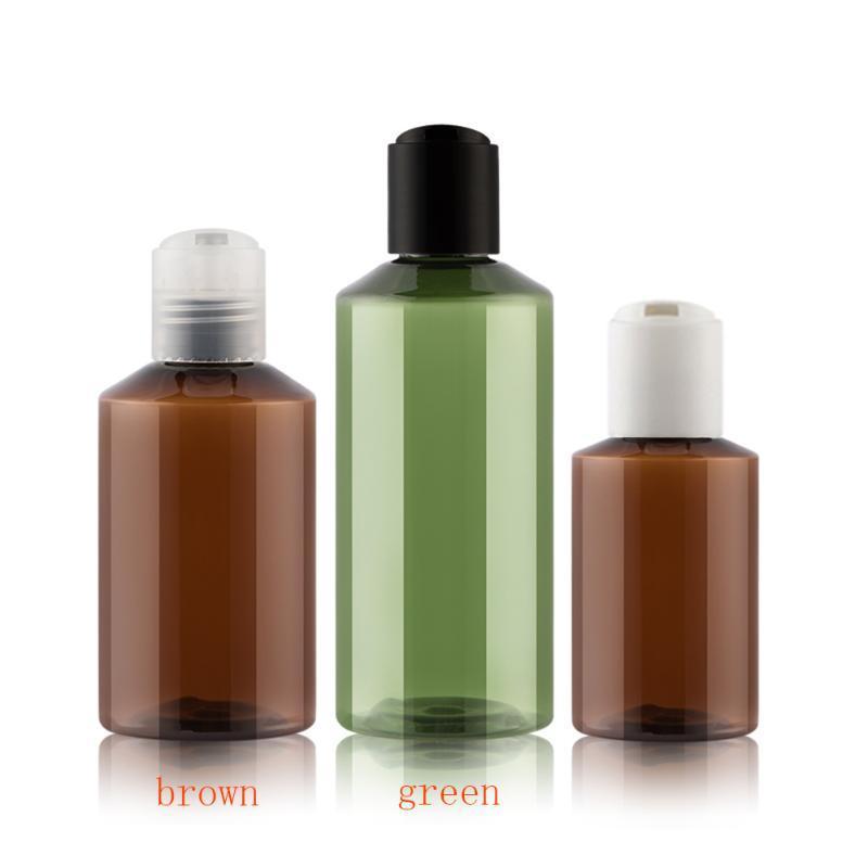 디스크 나사 뚜껑 샴푸 PET 용기와 50PCS는 50ML 100ml의 갈색 녹색 빈 플라스틱 화장품 로션 병, 화장품 포장