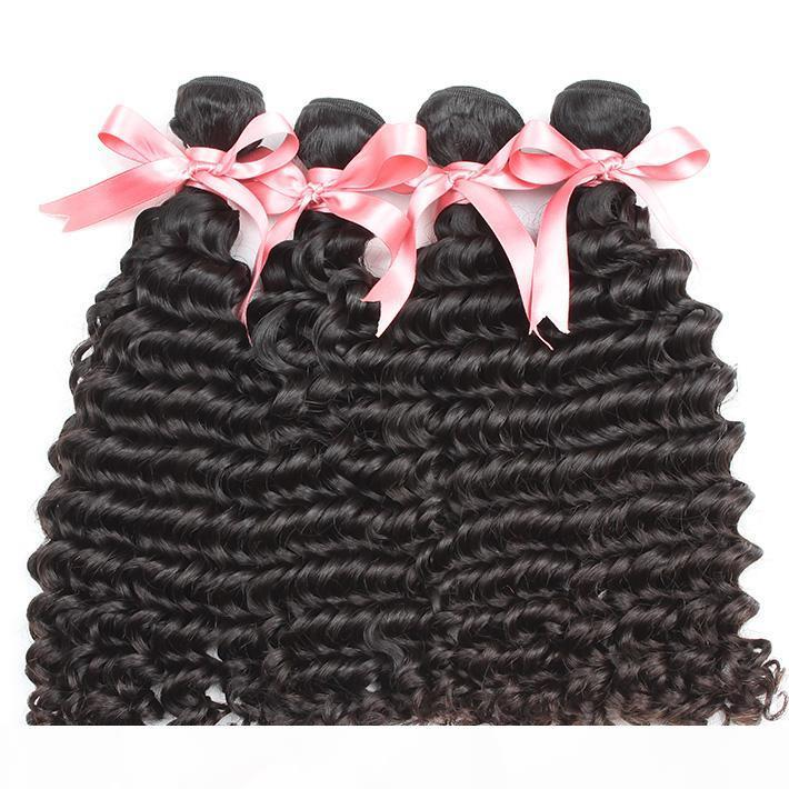 Greatremy? 8A İşlenmemiş Brezilyalı Saç boyanabilme Derin Dalga Atkı 4PCS LOT Doğal Renk Saç Uzatma 8 ~ 30 Çift insan saçı Dokuma
