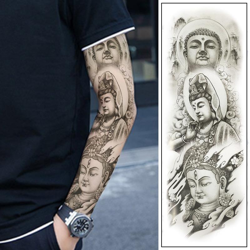 Brazo completo brazo de la flor Guan Gong tatuaje pegatinas impermeable tatuaje tatuaje pegatinas sudor hombres y mujeres