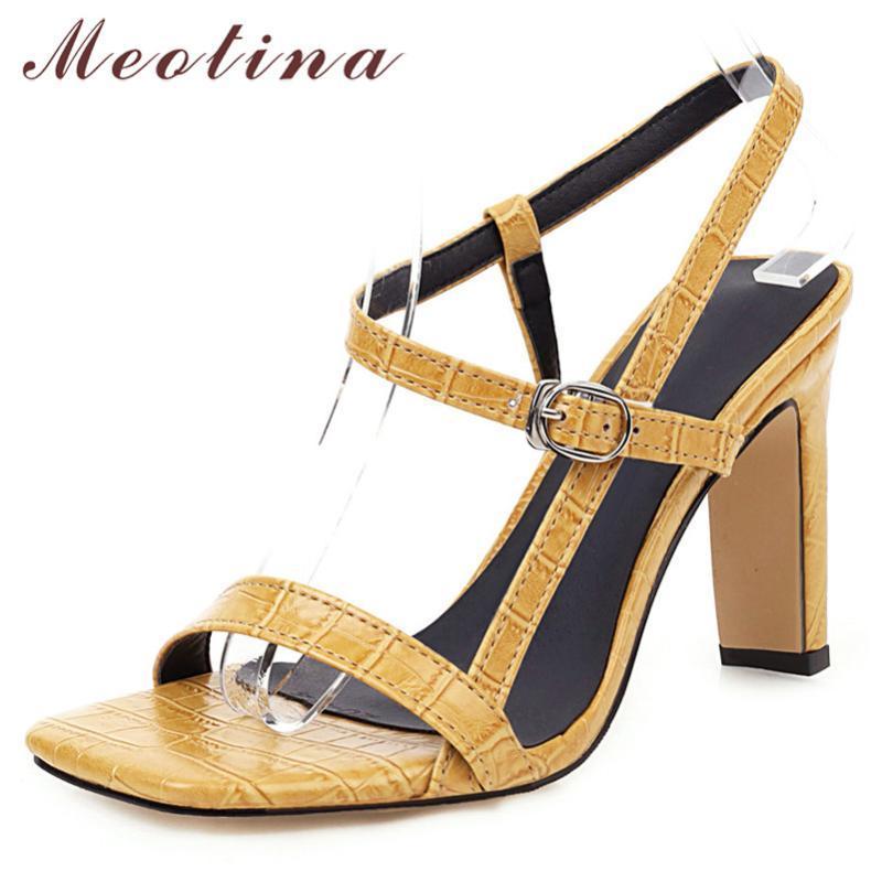 Meotina Sommer-Sandelholz-Schuhe Damen Buckle Thick Absatz-Partei-Schuhe, elegante Super High Heel Sandaletten Damen Rot 2020 Big Size 34-46