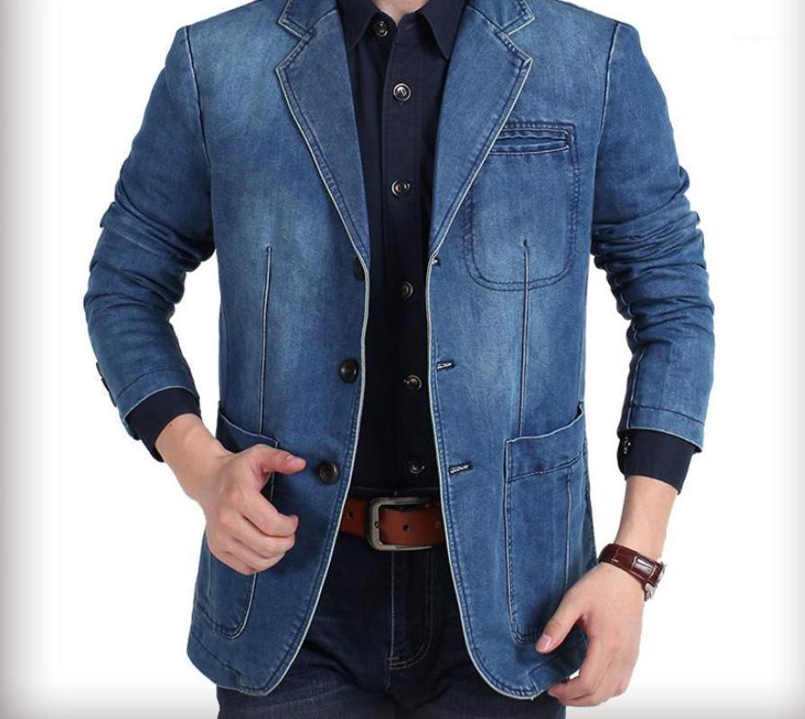 4XL mens cappotto progettista giacche invernali Denim Blue Blazer Stile cappotti Giacca monopetto