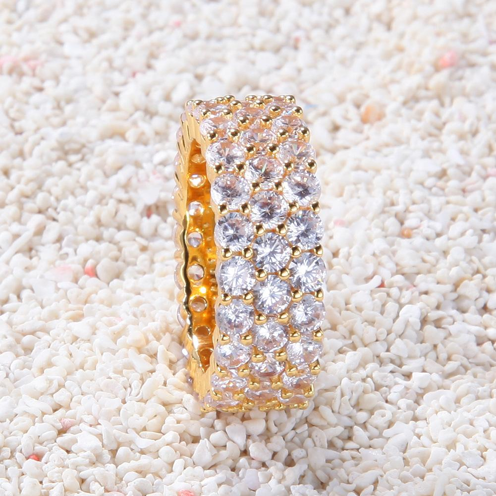 Hip Hop Bling delle donne degli uomini anelli gioielli in oro argento Tre fila di zircone Diamond Engagement Rings ghiacciato fuori