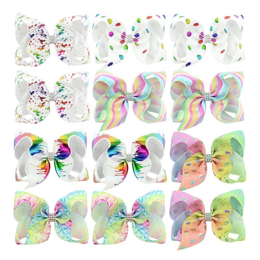 6 인치 대형 리본 리본 모조 다이아몬드 아이 Bowknot 6 쌍 큰 무지개 Hairbows 악어 헤어 클립 여자 헤어 액세서리