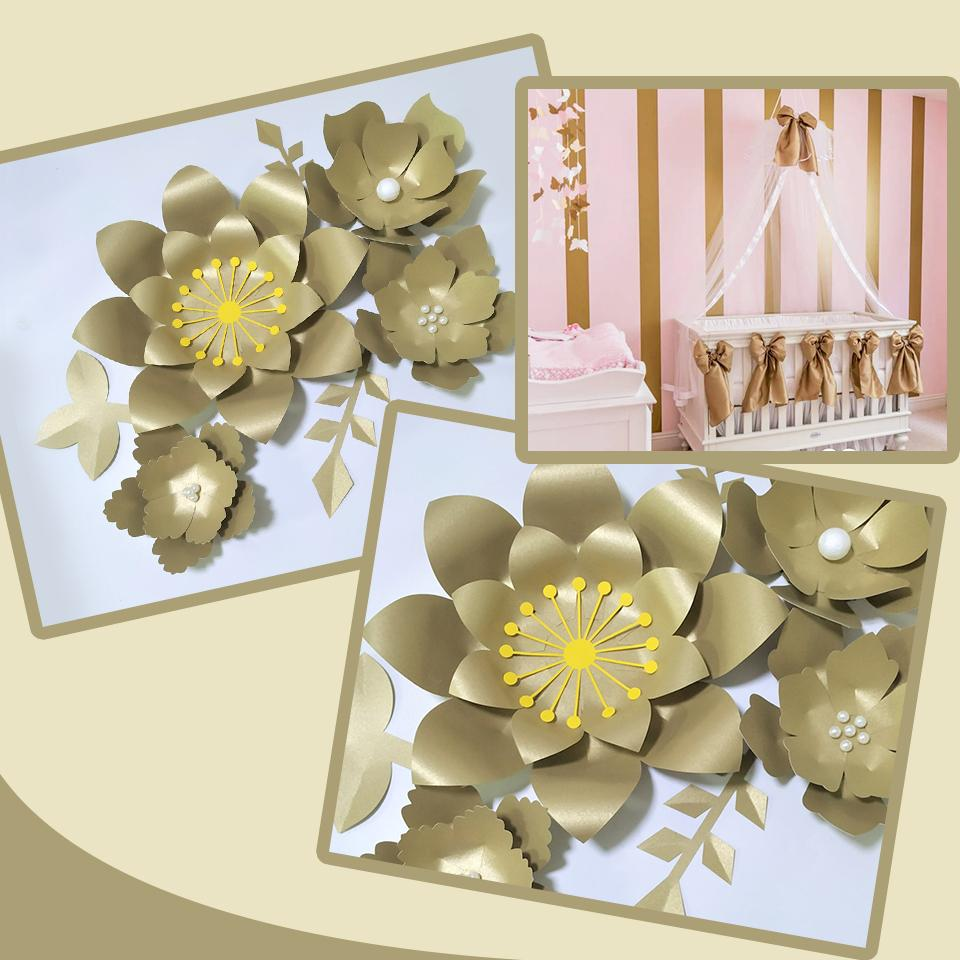 Handmade Gold Rose Flor DIY Paper Flowers Gold Leaves Set For Backdrops Decorations Nursery Wall Deco Girls Room Video Tutorials