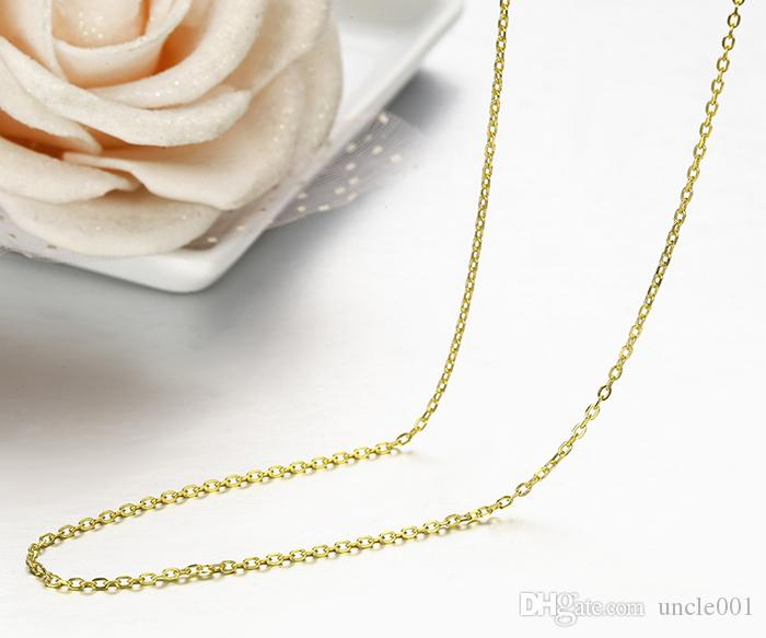 925 Sterling Silver Yellow Gold Color Rolo Cross Chain Necklace Women 45+5cm Jewelry kolye collares collier ketting