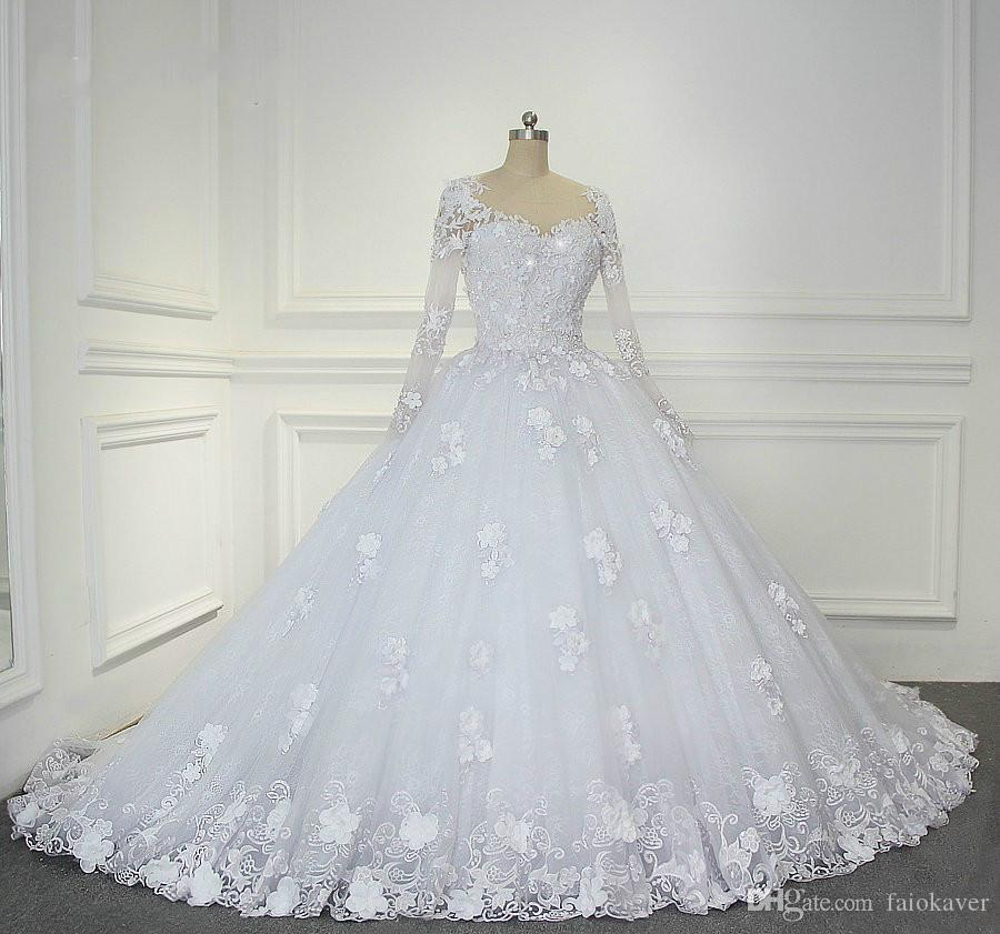 Long Sleeve 2020 Ball Gown Wedding Dress Bridal Gowns Jewel Neck Lace Floral Appliqued Bead Plus Size robe de mariee White Wedding Dres