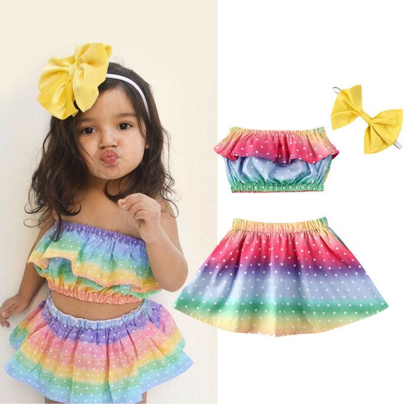 0-3Y 신생아 유아 아기 소녀 레인보우 도트 무지개 빛깔이 가슴 + 스커트 + 머리띠 의상 의류 여름 운동복 3PCS 포장