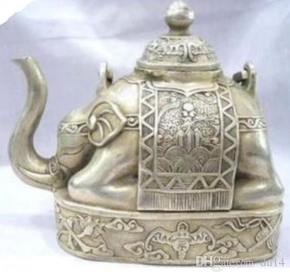 Abbastanza meraviglioso Buddismo del Tibet argento elefante teiera decorazione del giardino reale di 100% ottone argento tibetano