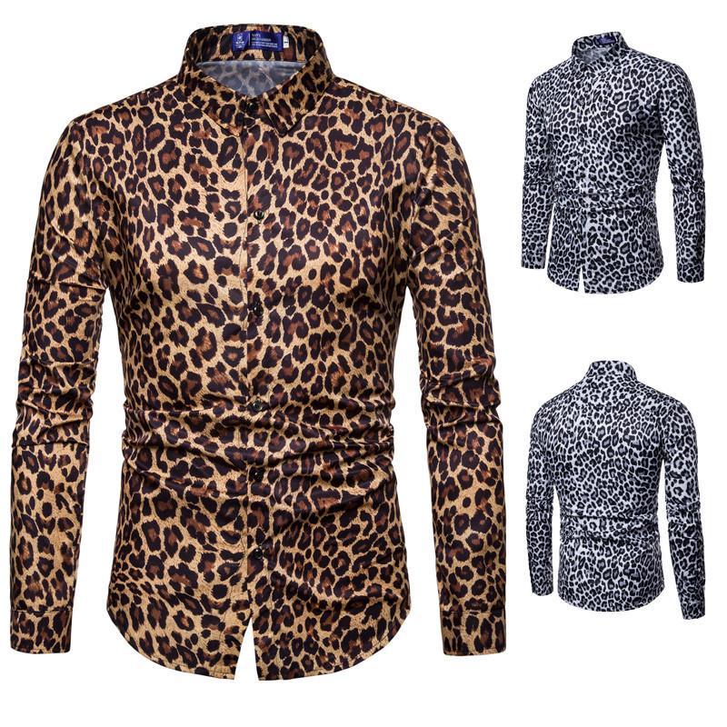 New Mens Shirt Nightclub Leopard Print Casual Slim Long Sleeve Shirts Men White Yellow Color Euro Size M-3XL