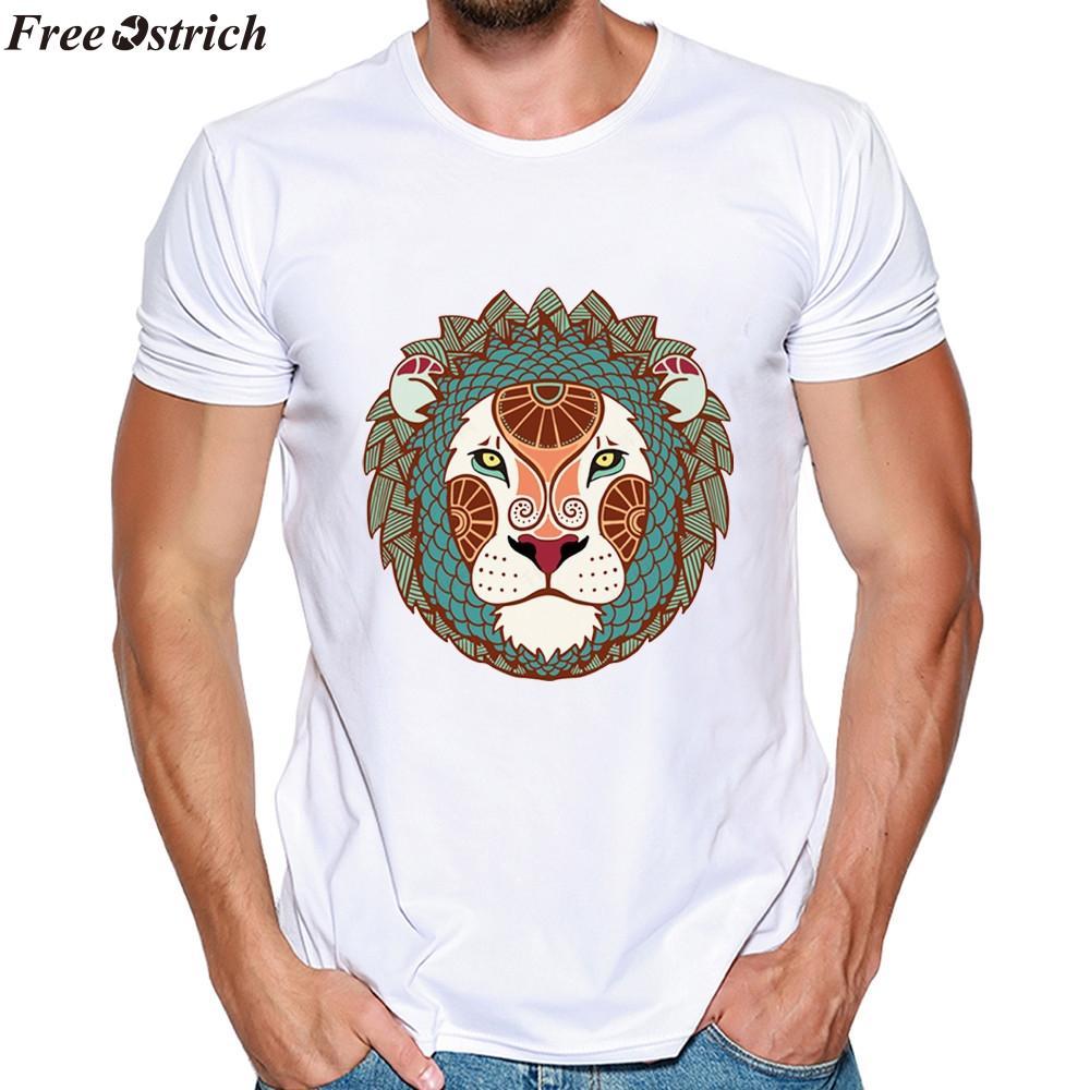ÜCRETSIZ OSTRICH Yaz Modal erkek Karikatür Aslan Baskı Kısa Kollu T-Shirt Elastik O-Boyun Rahat Yumuşak Spor T-shirt artı boyutu tops