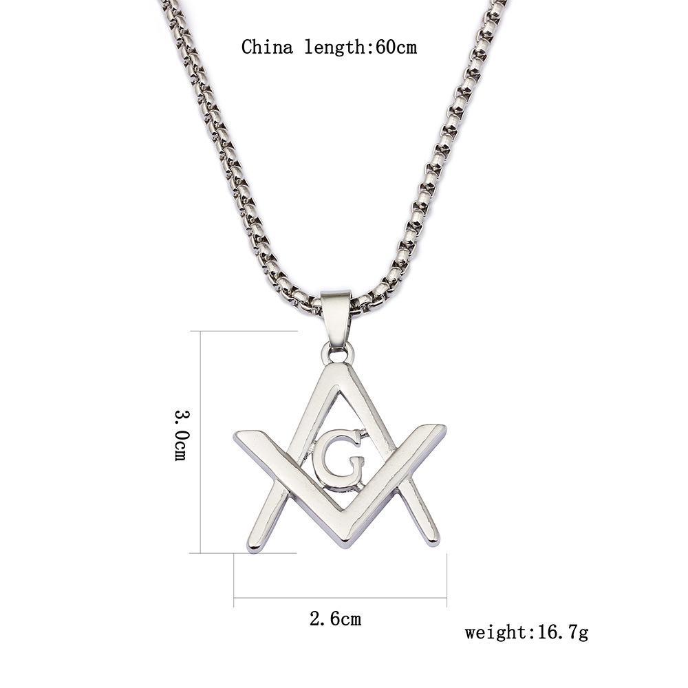 Pendentif Collier Symbole Maçonnique en Acier CZ Cristal Chaîne de