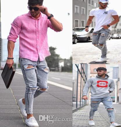 Agujeros para hombre Farola tejanos rasgados moda apenada lápiz de los pantalones Slim Fit Pantalones Hombre Hommes