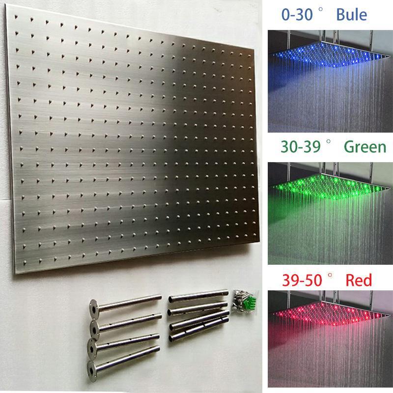 새로운 디자인 304 SS 칫 솔 질 600x800mm 럭셔리 욕실 비 샤워 헤드 큰 크기 수력 LED 천장 라이트 레인 샤워 BH02690