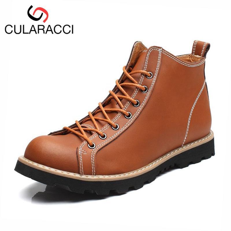 CULARACCI echtes Leder-Mann-Knöchel-Aufladungen Handnähende Qualitäts-Boots High Top Freizeit Arbeitsschuhe Männerschuhe Größe 38-44