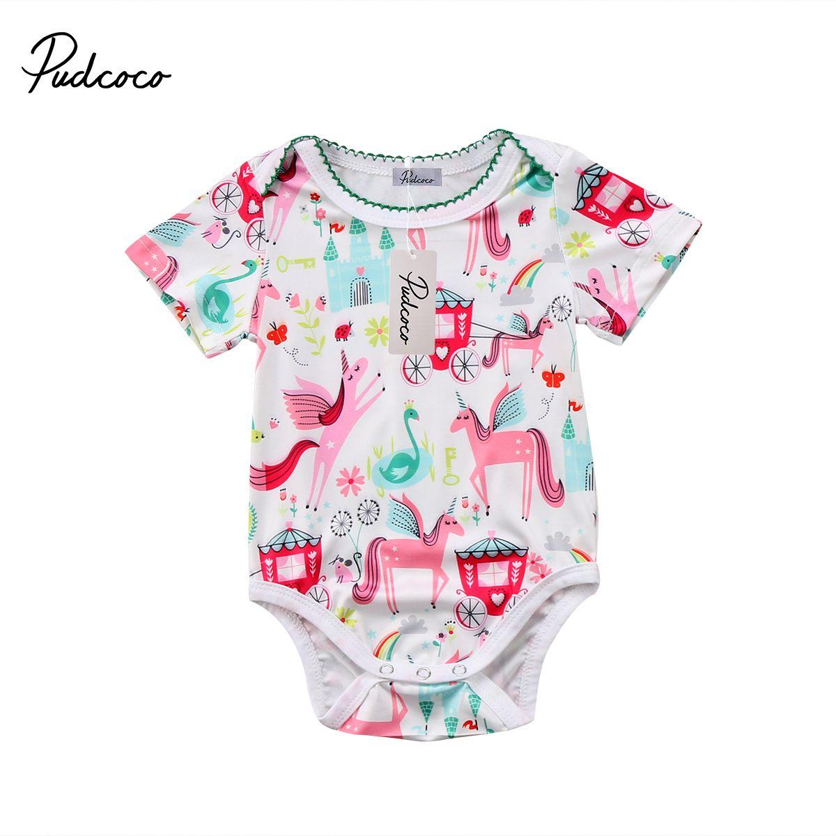 Pudcoco recién nacido algodón de los bebés del unicornio Body manga corta botón cubierto monos del mono de ropa Trajes
