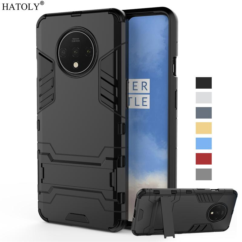 Fitted Cases For Oneplus 7T Case Cover 7 T Pro One plus Shockproof Hard PC Armor Holder Stand Case Silicone Phone Bumper