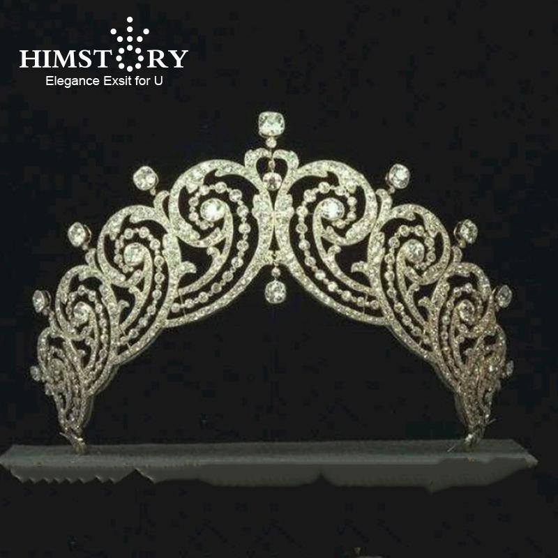 Himstory Royal Shinny Princess Full Zircon Brides Tiaras Crowns Retro European Hairbands Wedding Hair Accessories Prom Jewerly