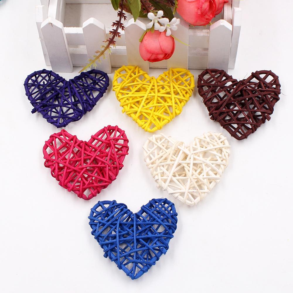 5 pçs / lote flores artificiais amor bola de palha coração para casamento decoração festa de Natal DIY rattan home decor suprimentos