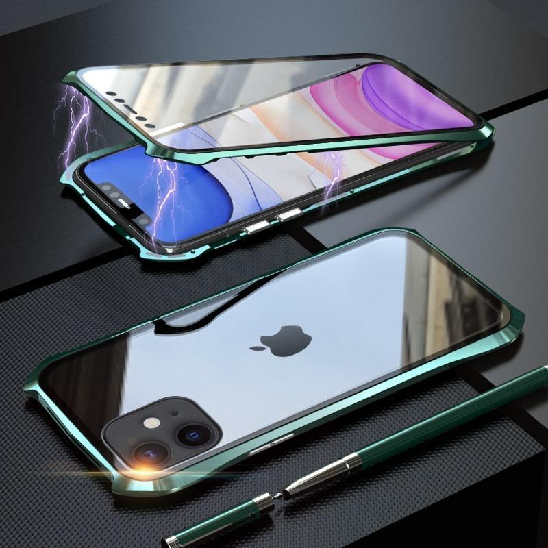 아이폰 (11) 프로 맥스 방폭 강화 유리와 더블 사이드 배트맨 자기 금속 프레임