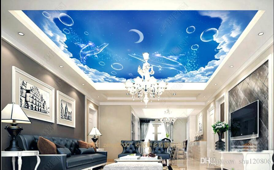 3d ceiling murals wallpaper custom photo Cartoon blue sky white cloud whale painting room home decor 3d wall murals wallpaper for walls 3 d