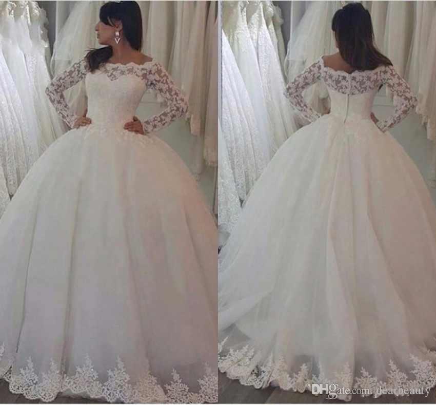 우아한 볼 가운 웨딩 드레스 공주 긴 소매 레이스 아플리케로 돌아 가기 버튼 스윕 기차 신부 가운