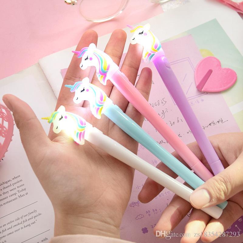 2019 nueva novela 0.5mm diseñador de luz nocturna arco iris del unicornio del gel pluma creativa de Corea pluma de lujo individual los efectos de escritorio papelería y escritura