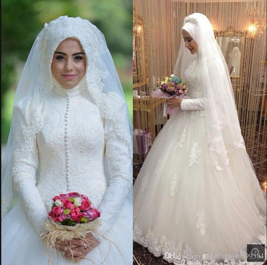 New arrival Arabic style Bridal Gown Islamic Long Sleeve Muslim women Wedding Dress Arab Ball Gown Lace Hijab Wedding Dress 2019