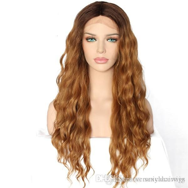 Sexy 180% Density Dark Roots Ombre Blonde Deep Wave Hair Natural Hairline Heat Resistant Fiber Glueless Synthetic Lace Front Wigs for Women