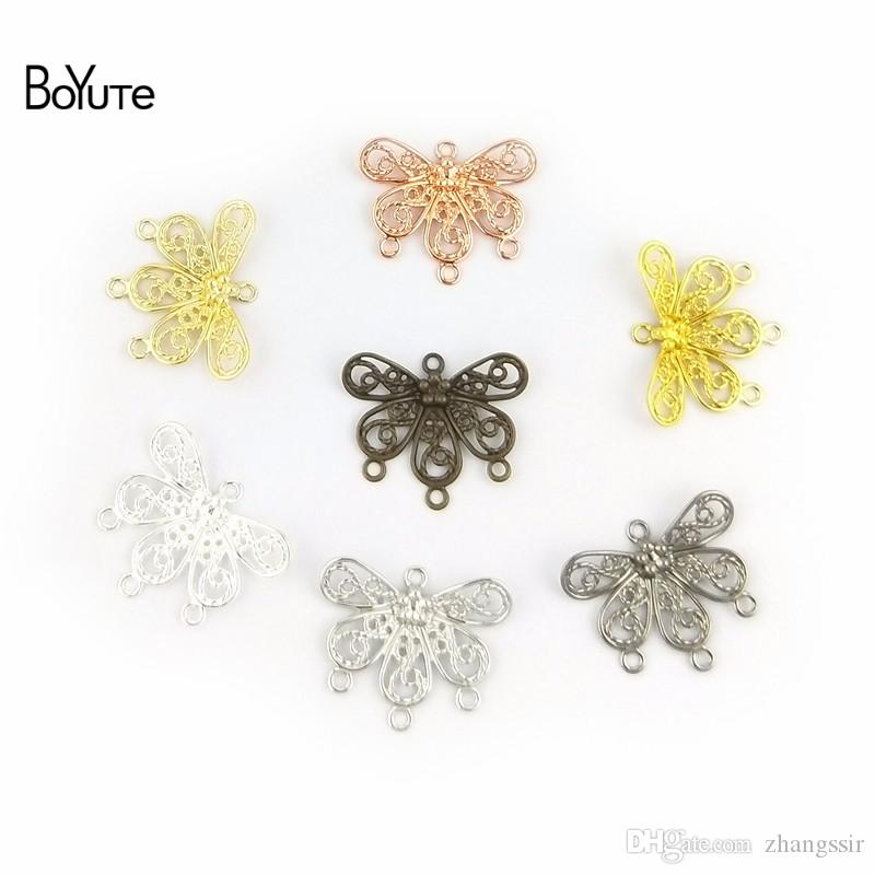 BoYuTe (200 Pieces/Lot) 18*22MM Metal Brass Stamping Filigree Flower Connector Charms with 4 Loops DIY Hand Made Jewelry Making Findings
