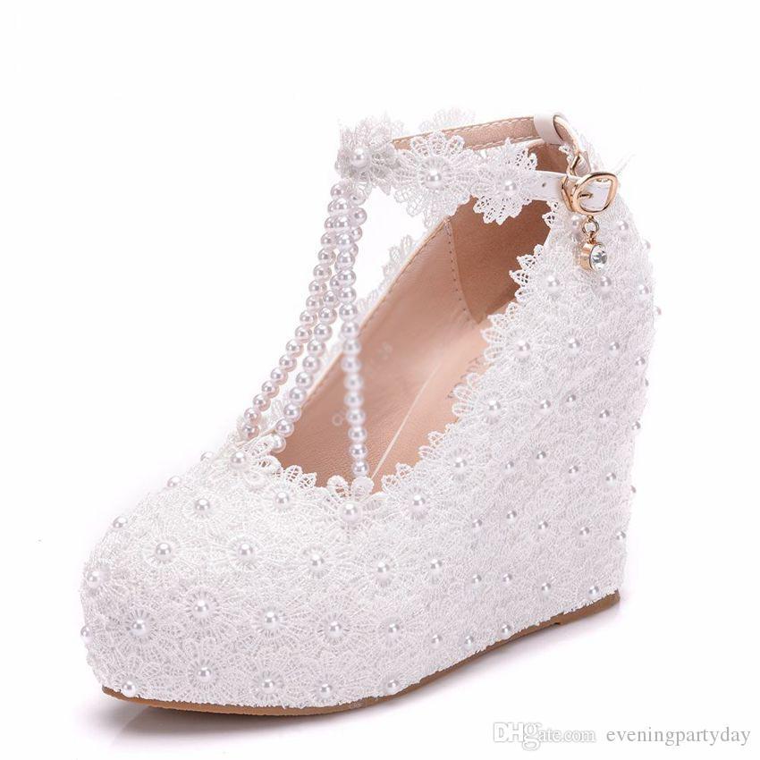 New Fashion Donna Scarpe da sposa Décolleté Sweet White Flower Scarpe con plateau in pizzo Scarpe da sposa Tacchi alti