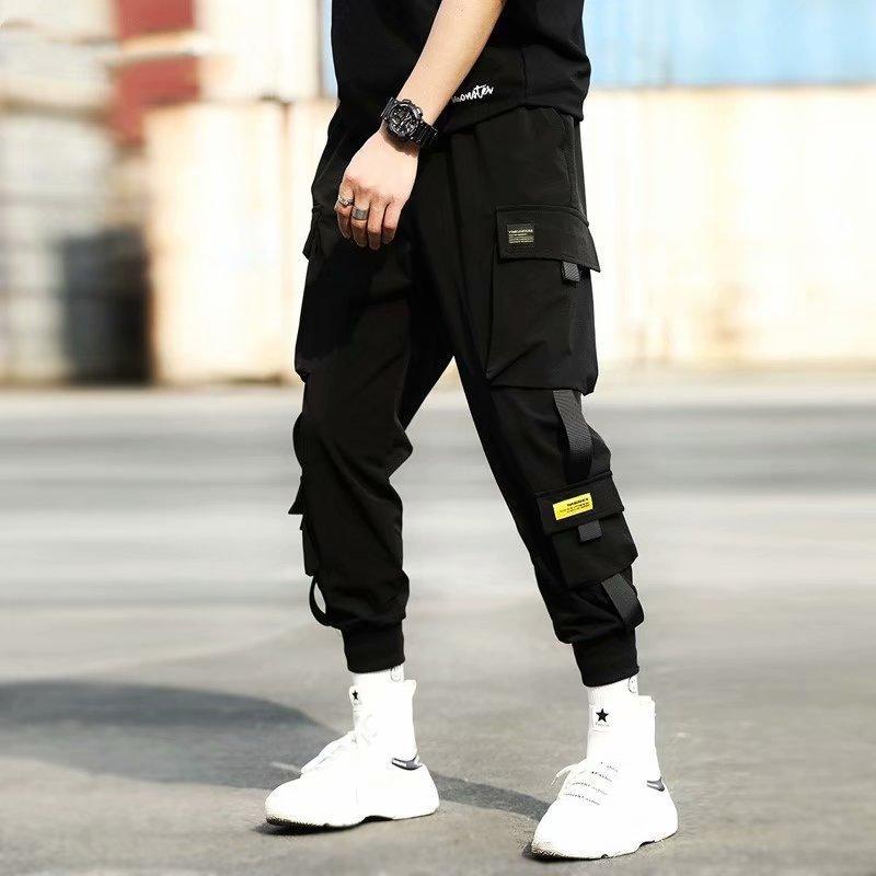 Cintas de carga pantalones casuales hombres Streetwear Harajuku Pantalones Hip Hop moda delgado ocasional Jóvenes Hombres con estilo de los pantalones del basculador